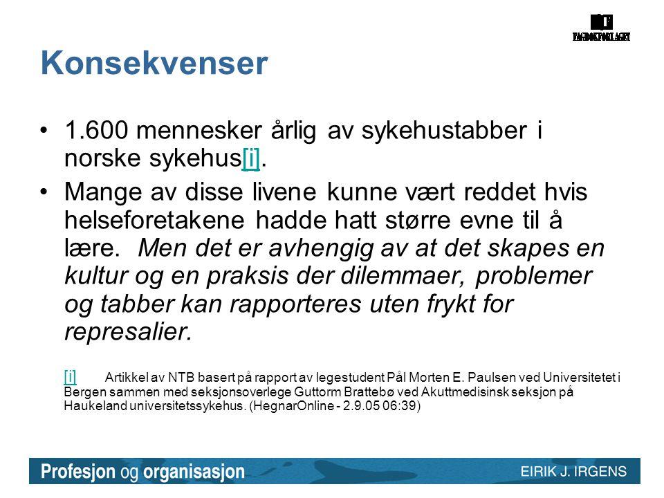 Konsekvenser 1.600 mennesker årlig av sykehustabber i norske sykehus[i].